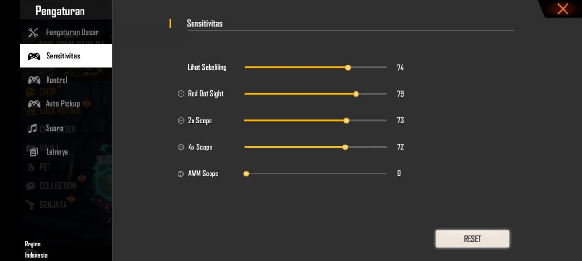 Settingan Sensitivitas FF di OPPO A3s dan A5s